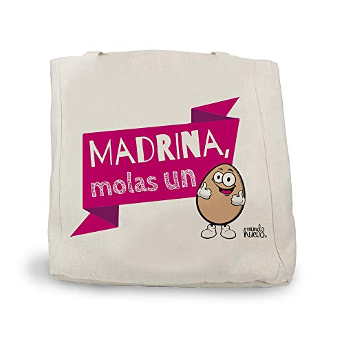 Bolsa de Lino con Asas. Regalo Madrina molas un Huevo. 48x38 cm.
