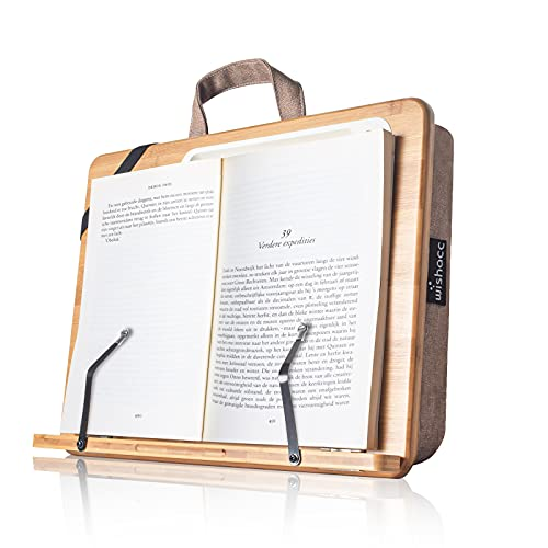 Book Stand for Reading in Bed, wishacc Bamboo Wood Lap Reading Holder with Page Paper Clips for Reading Hands Free, Portable Reading Shelf for Reading Cookbooks, Textbooks, Bibles in Bed/Sofa/Couch