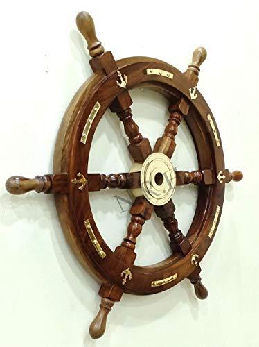 Rueda náutica de Madera con Ancla Grande de latón para Barco