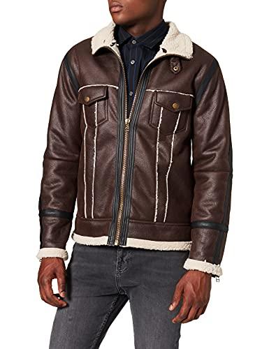 Marca Amazon - find. Chaqueta Aviador Hombre, Marrón (Chocolate brown Chocolate brown), XL, Label: XL (Ropa)
