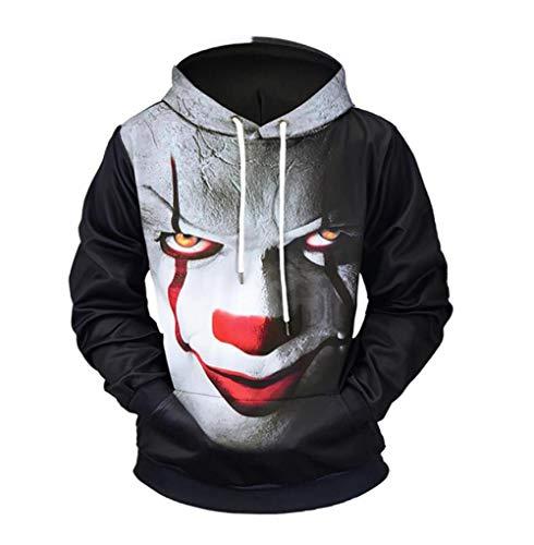 SWEYRT Halloween Horror Portrait 3D Print Mode Männer/Frauen 3D Sweatshirts Hoodies Herbst Winter Dünne Kapuzenpullover Tops-XL