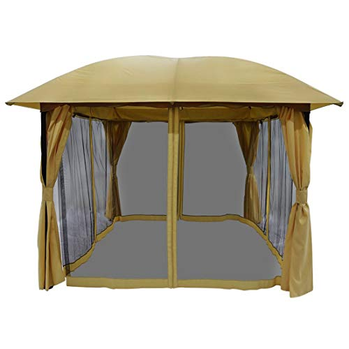 Quictent Outdoor Metal Gazebo, 12 x 12 feet Soft Top Heavy Duty Canopy Gazebo with Mosquito Netting and Shade Curtains, Waterproof Gazebo Canopy for Patio or Backyard (Tan)