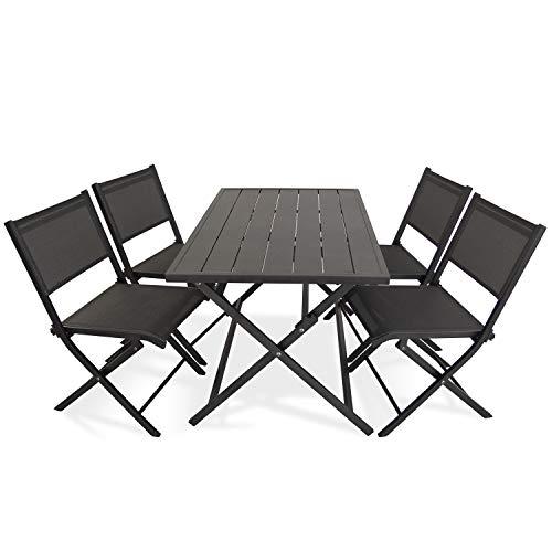 Edenjardi Conjunto para Exterior, Mesa Plegable 120 cm y 4 sillas Plegables,...