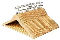 木製ハンガーセット スーツ ジャケット用 手作 天然高級木 (ナチュラル 30本)