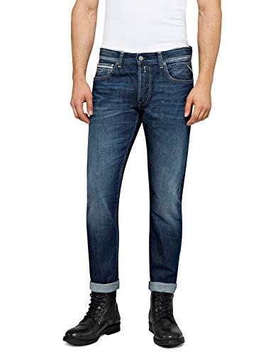 Replay Herren Grover Straight Jeans, Blau (Dark Blue 7), 27W / 30L
