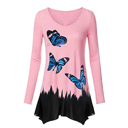 Women's Crewneck Long Sleeve Floral Shirts Fred Casual Tunic Tops Swing T-shirt Lightweight Fit Youmore
