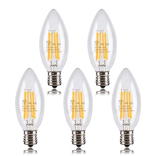 Tengyuan シャンデリア電球 60W形相当 LED電球 60W E17口金 フィラメント LED電球 電球色 6W 2700k 600lm C35 クリアタイプ シャンデリア形 (E17 5個入り)