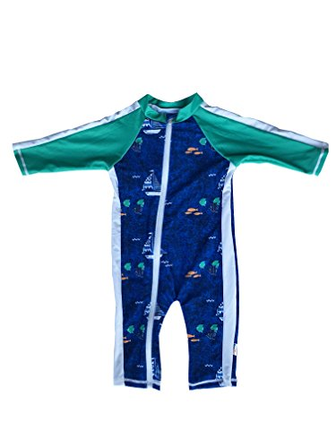 SwimZip Little Boy Long Sleeve Sunsuit with UPF 50 Sun Protection, Blue Sailboat, 12-18 Months