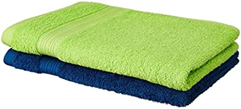 Amazon Brand - Solimo 100% Cotton 2 Piece Hand Towel Set, 500 GSM (Iris Blue and Spring Green)