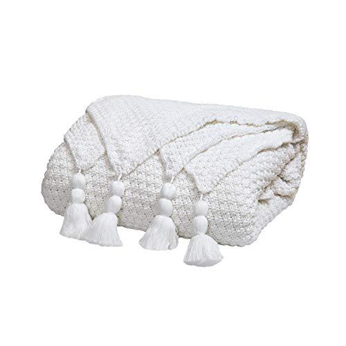 MYLUNE HOME Plaid Couverture Tricot en 100% Coton Idéal pour Canapé/Lit/Table/Pique-Nique (130x160cm) - Blanc