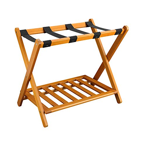 "Casual Home Shelf-Honey Oak Luggage Rack, 28"" Wide, Walnut"