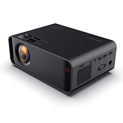 Proyector HD con 8000 Lux de Brillo LED, proyector de Video, Control Remoto de 360 ° y Pantalla inalámbrica móvil para Home Cinema, Gaming, Office, Film, Laptop, Mobile,Negro