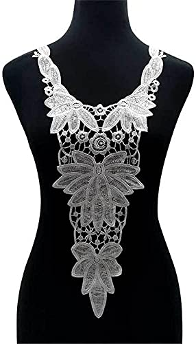 XinYiC Escote de encaje apliques ramillete flecos ribete bordado costura artesanía boda...