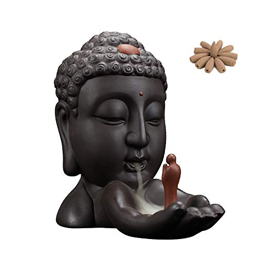 Tongyou Ceramic Waterfall Backflow Incense Burner Incenser Holder Home Decor Aromatherapy Ornament+ 10 Cone Incense Free (Brown Black)