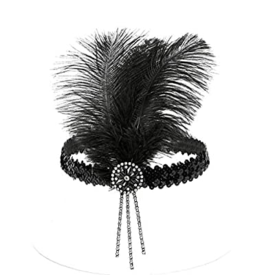 Women Flapper Feather Headband Headpiece Party Ball Gown Dress Up Headdress 1920s Head Accessories Headpiece