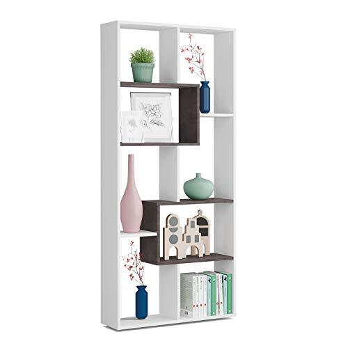 Estantería Reversible, Librería Oficina, Modelo Kawa, Acabado en Color Blanco Artik Y Oxido, Medidas: 180 cm (Alto) x 80 cm (Ancho) x 25 cm (Fondo)