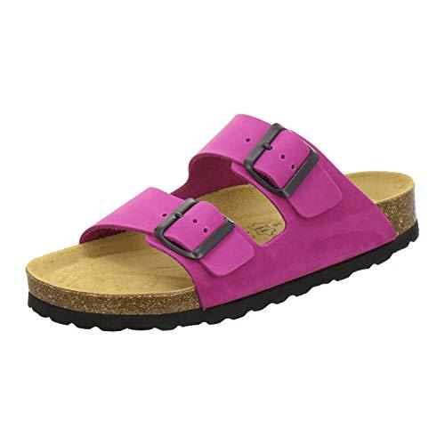 AFS-Schuhe 2100, Bequeme Damen Pantoletten echt Leder, praktische Arbeitsschuhe, Hausschuhe, Handmade in Germany (43 EU, pink)