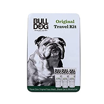 Bulldog Mens Skincare & Grooming Original Mini Travel Tin Set Including  1 Oz Facial Moisturizer 1 Oz Face Wash & 1 Oz Shave Gel