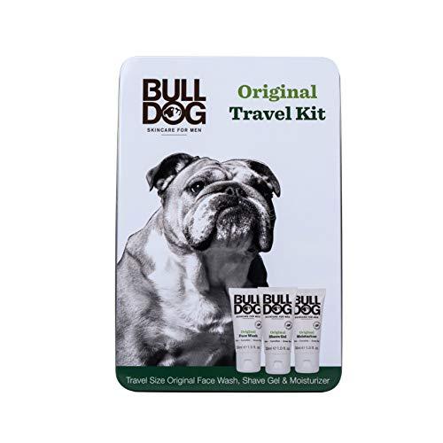 Bulldog Mens Skincare & Grooming Original Mini Travel Tin Set Including: 1 Oz Facial Moisturizer, 1 Oz Face Wash & 1 Oz Shave Gel