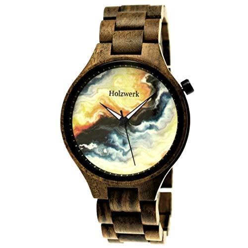 Handgefertigte Holzwerk Germany® Designer Herren Herren-Uhr Öko Natur Holz-Uhr Armband-Uhr Analog Klassisch Quarz-Uhr Braun Bunt Marmor Design Zifferblatt