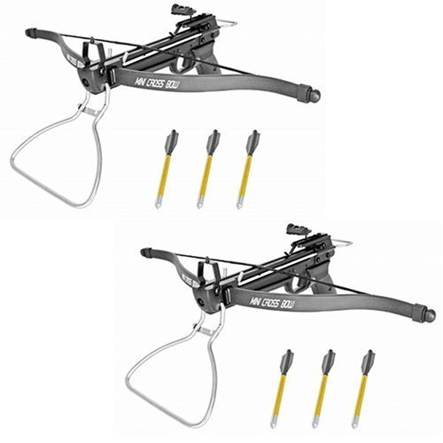 2 Pack 80 Lb Crossbow Gun Pistol Hand Held Archery Hunting Cross Bow w/ Arrows