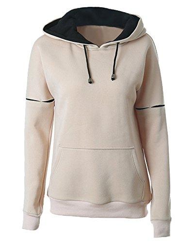 Sweat à Capuche Femme Veste Unie Pullover Hoodie Manches Longues Couleur Contraste Sweatshirt Abricot M