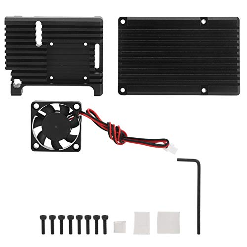Carcasa de enfriamiento con ventilador, aleación de aluminio, larga vida útil, carcasa de enfriamiento negra, carcasa de enfriamiento de calor fácil de disipar para Raspberry Pi 4 Modelo B