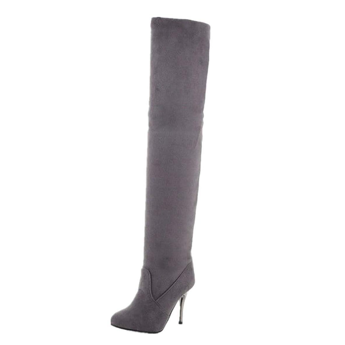 寝室を掃除する去る遵守する女性のスーパーハイヒール防水プラットフォームは、膝の上でセクシーなブーツ2018秋と冬新しい尖った女性のストレッチヒールの高いブーツ (色 : Gray Plus velvet, サイズ : 46)