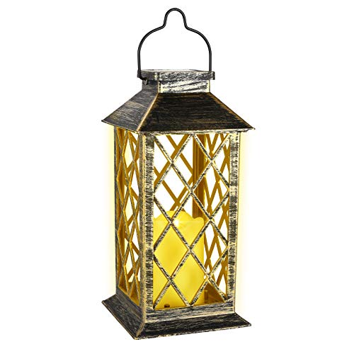 Solar Laterne LED Gartenlaterne mit flackernder Kerze Auto Ein/Aus hängende Solarlampe für Außen Garten Outdoor Balkon