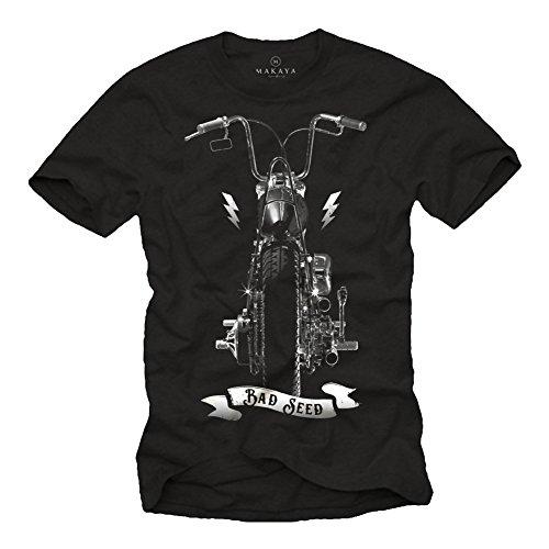 Maglietta Motociclista - T-Shirt con Stampa Moto Chopper Harley Uomo - Sons of Anarchy Nera L