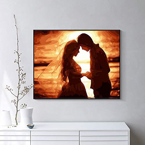 wojinbao DIY Digital Painting/Reine Handmalerei/Ehepaar/Paint by Numberson Leinwand Geschenk für Erwachsene und Kinder Geburtstag Hochzeit(Mit Rahmen)