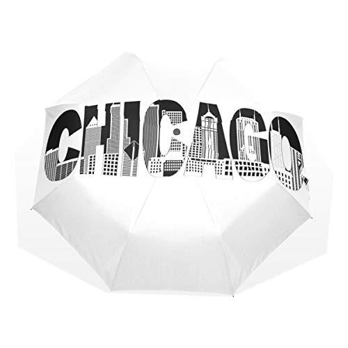 LASINSU Paraguas Resistente a la Intemperie,protección UV,Paraguas Ligero,Texto en Blanco y Negro d