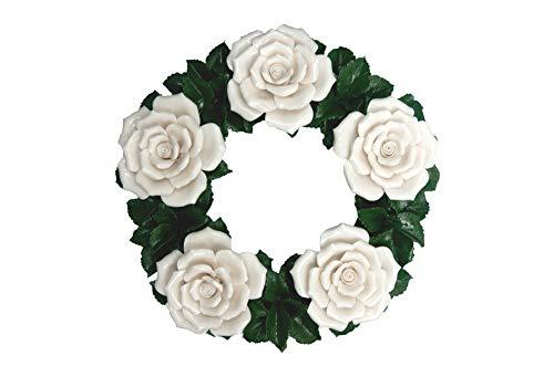 Keramikkranz - Rosen - Porzellanblumen - Dekokranz - Geschenkidee - Gartendeko - Tischdeko - Grabschmuck - Grabdeko - Trauerschmuck - Blumengesteck - Ø 30 cm - Wetterfest