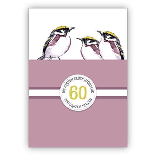 Mooie verjaardagskaart voor 60e verjaardag of diamanten bruiloft, 60 jaar huwelijk jubileum met vogels in paars: 60 De beste felicitaties van het hele hart • felicitatiekaarten met enveloppen 10 Grußkarten lila