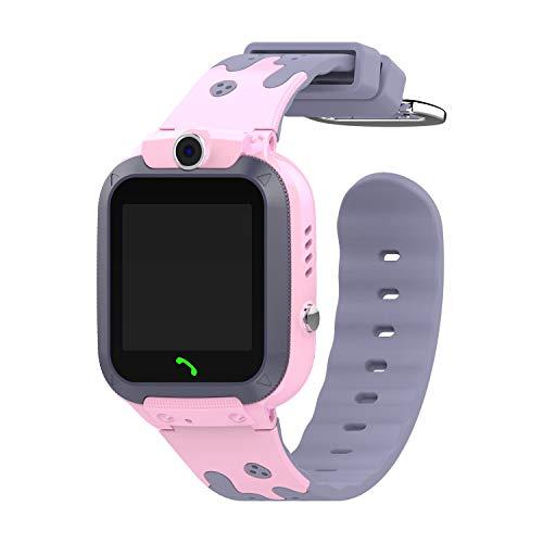 Kaudia Smartwatch für Kinder, GPS, wasserdicht, Sport, Smart Clock, Android, Kinder, SOS, Anruf, Smartwatch, mit Kamera, SIM, HD-Karte, Drücken auf Uhr, Rosa