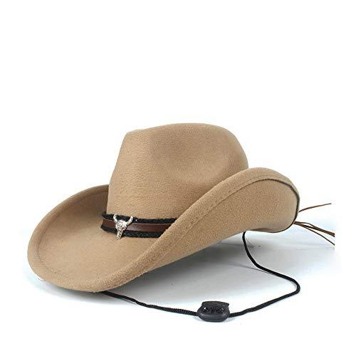 SSHZJUS Mujer Hombre Unisex Lana Hollow Western Cowboy Hat for Caballero Fedora Sombrero Cap Sombrero de papá (Color : Beige, Size : 56-59cm)