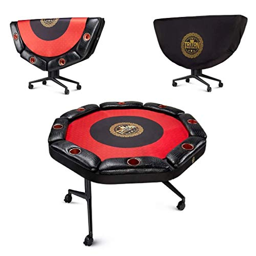 Triton Poker Folding 8 and 10 Player Poker Table Casino Style Fully Assembled with Interchangeable Mats and Wheel (8 Players)