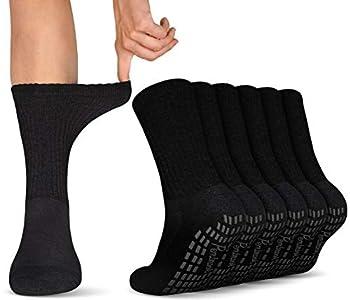 Diabetic Socks with Grips for Women & Men   Non Binding Edema Neuropathy Socks   6-pairs