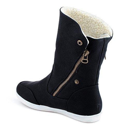 Fusskleidung Damen Boots Flach Gefütterte Schlupf Stiefel Stiefeletten Schwarz Braun EU 39