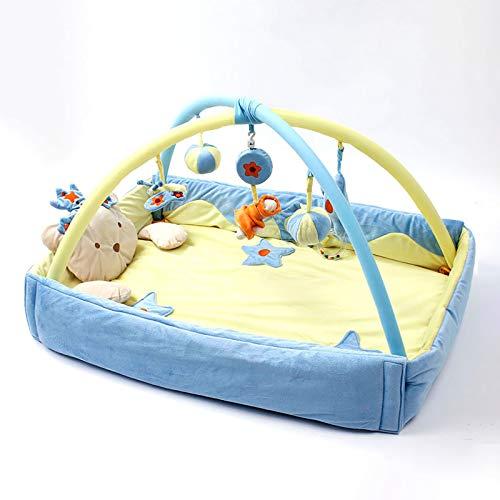DO-MF Tapete de Juego para bebés y Gimnasio de Actividades, tapete para Gatear súper Suave, Gimnasio de Actividades, Juguete de Peluche con Sonido, para bebés, recién Nacido,Azul