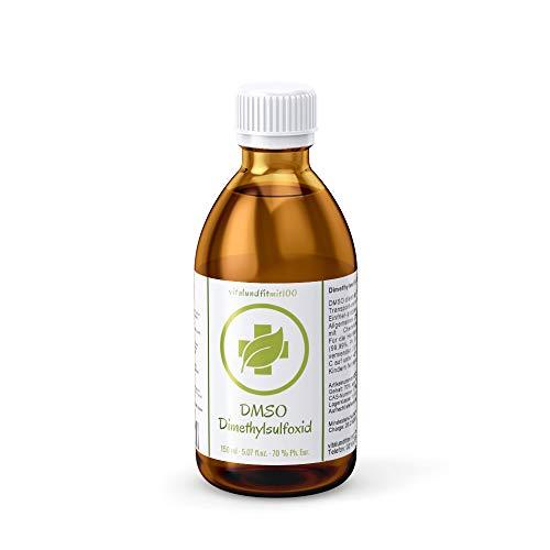 DMSO Dimethlysulfoxid - 150 ml - verdünnte Lösung: 70% DMSO Ph. Eur, 30% Wasser Ph. Eur - abgefüllt in pharmazeutischer Braunglasflasche mit Tropfeinsatz.