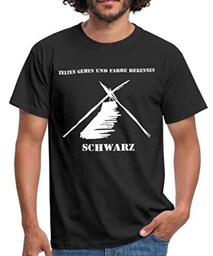 Kothe Schwarz Zelten Gehen und Farbe Bekennen Männer T-Shirt, L, Schwarz