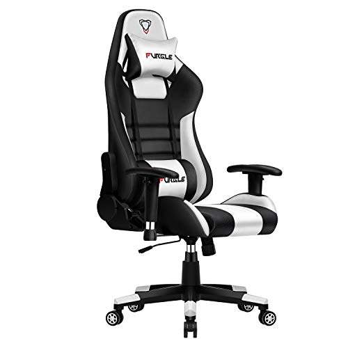Furgle Gaming Chair Racing Style Office Chair High-Back w/3D Adjustable Armrest PU Leather PC Computer Chair Swivel Executive Task Chair with Headrest and Lumbar Support (Black & White) black chair gaming