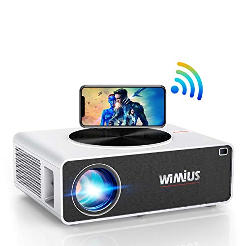 Proyector WiFi 1080P, WiMiUS 7200 Lúmenes Proyector WiFi Full HD 1920×1080P Soporta 4K Audio AC3 Proyector Cine En Casa LED 100,000 Horas para Teléfonos,iPad,Fire TV Stick,PS4,PC HDMI USB VGA AV