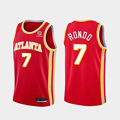 TPPHD Jerseys de Baloncesto para Hombres, NBA Atlanta Hawks # 7 Rajon Rondo Classic Swingman Jersey, Tejido Transpirable Fresco de la Vendimia Uniforme de Fan Unisex,Rojo,L