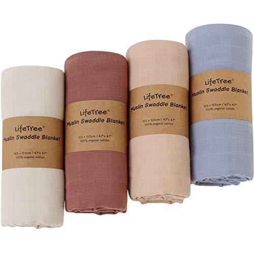 LifeTree Baby Pucktücher, 4 Stück Babydecke Musselin Swaddle Puckdecken, 100% Bio Baumwolle Größe 120x120 cm Babydecken, Baby Mulltücher für Junge und Mädchen