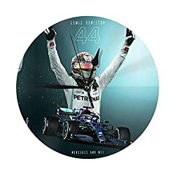 rtyrtyrty Lewis Hamilton Round Wall Clock Silent Wall Clock Non-Ticking Classic Digital Clock Battery Operated Round Easy to Read Home/Office/School Decorative Clock