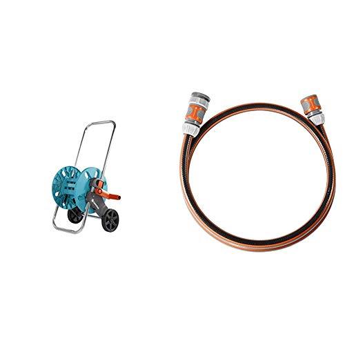 Gardena AquaRoll S, sin montar Anschlussgarnitur Comfort Flex Schlauchadapter zum Anschluss des Schlauchwagens, Schlauch mit Schnellkupplungen, 25 bar Berstdruck, 13 mm, 1/2 Zoll, 1,5 m