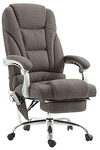 CLP Chefsessel Pacific Stoff mit Massagefunktion l Höhenverstellbarer Bürostuhl mit...