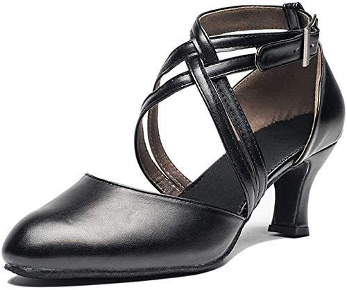 Joocare Women Cross Strap Latin Ballroom Black Character Dance Shoes Ladies Modern Tango Salsa Party Dress Pump (9.5, Black)